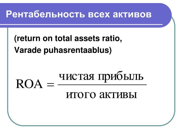 Рентабельность всех активов