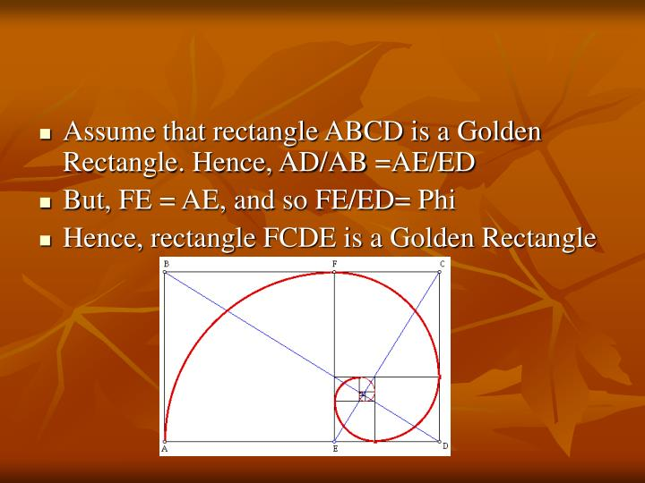 Assume that rectangle ABCD is a Golden Rectangle. Hence, AD/AB =AE/ED
