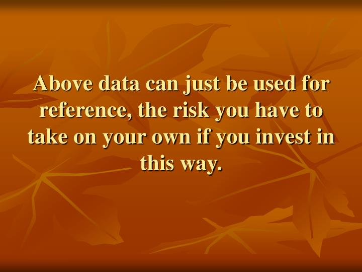 Above data can just be used for reference, the risk you have to take on your own if you invest in this way.