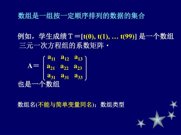 数组是一组按一定顺序排列的数据的集合