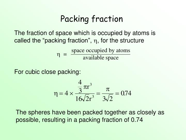 Packing fraction