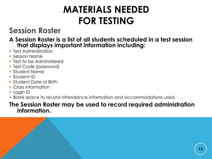 Materials Needed