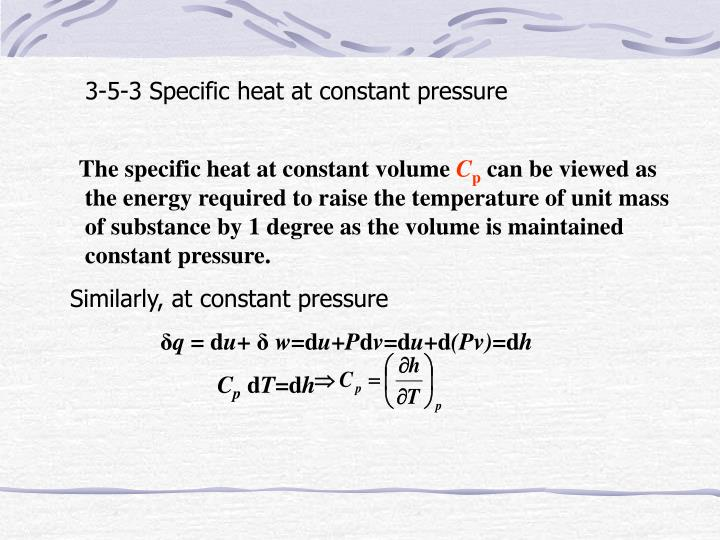 3-5-3 Specific heat at constant pressure