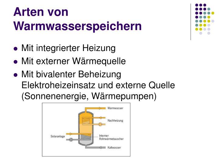 Arten von Warmwasserspeichern