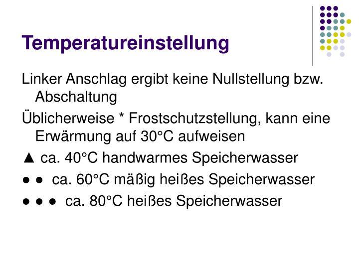 Temperatureinstellung