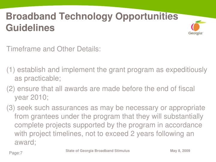 Broadband Technology Opportunities Guidelines