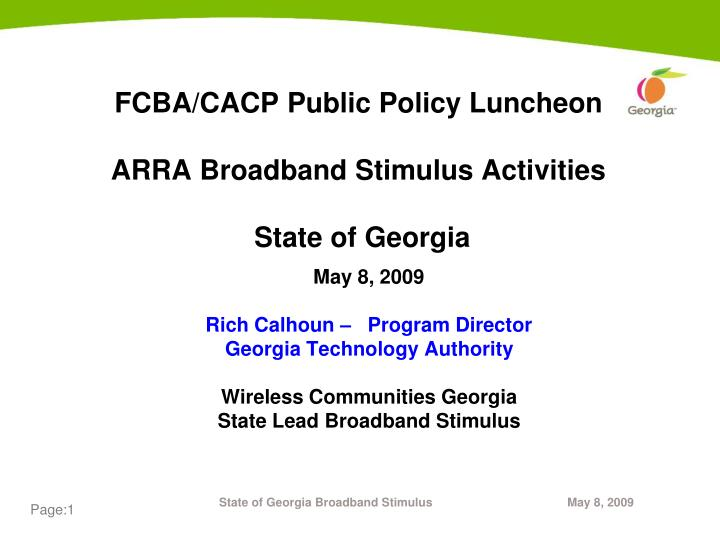 Fcba cacp public policy luncheon arra broadband stimulus activities state of georgia