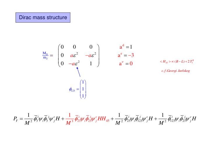 Dirac mass structure