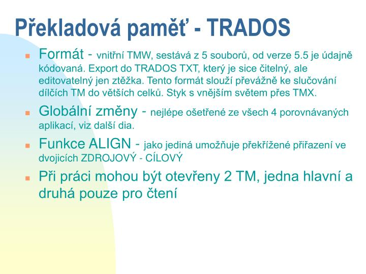 Překladová paměť - TRADOS