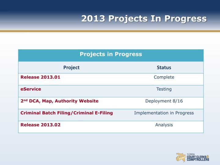 2013 Projects In Progress