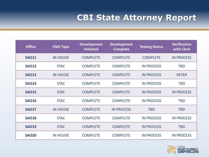 CBI State Attorney Report