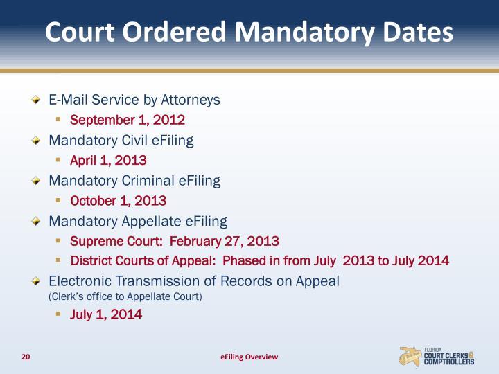 Court Ordered Mandatory Dates