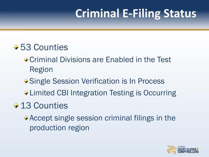 Criminal E-Filing Status