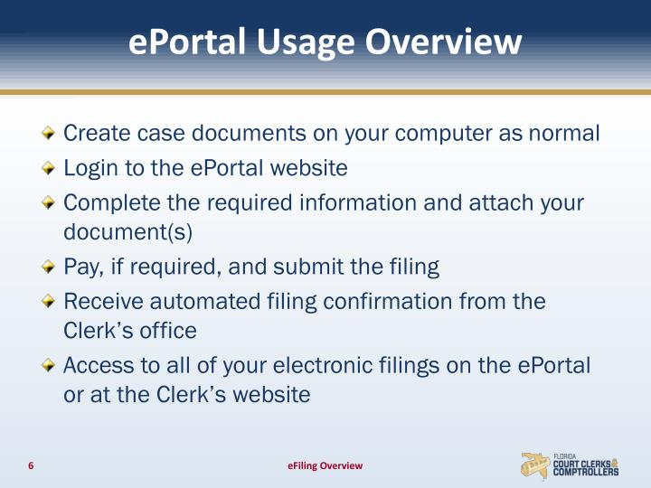 ePortal Usage Overview