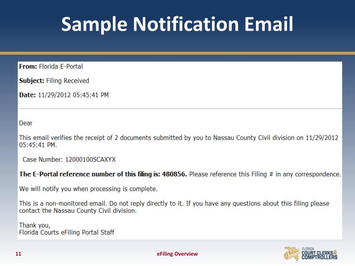 Sample Notification Email