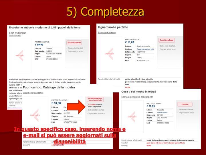 5) Completezza