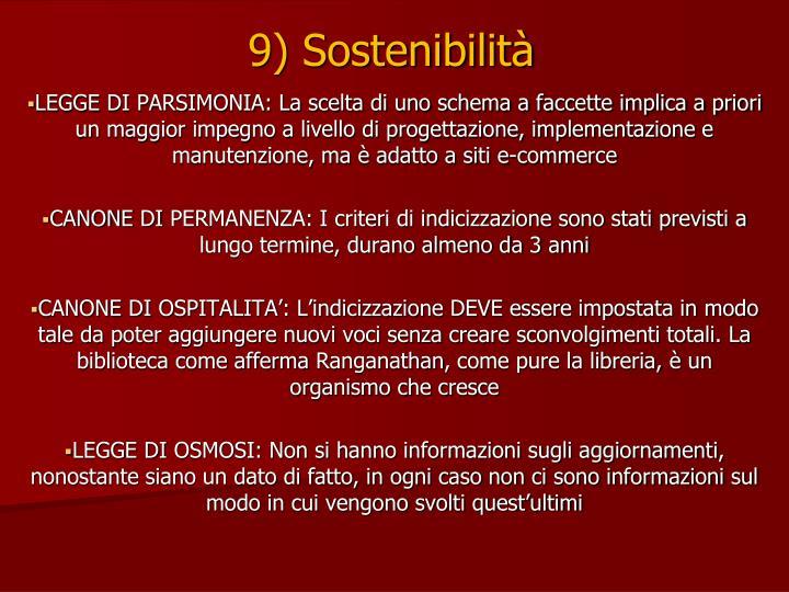 9) Sostenibilità