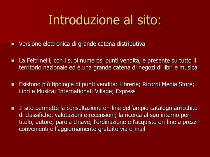 Introduzione al sito: