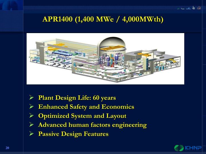 APR1400 (1,400 MWe / 4,000MWth)