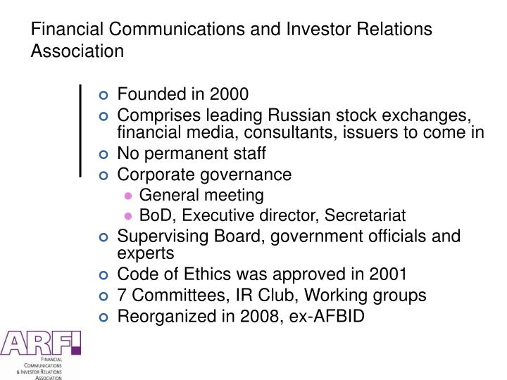 Financial communications and investor relations association