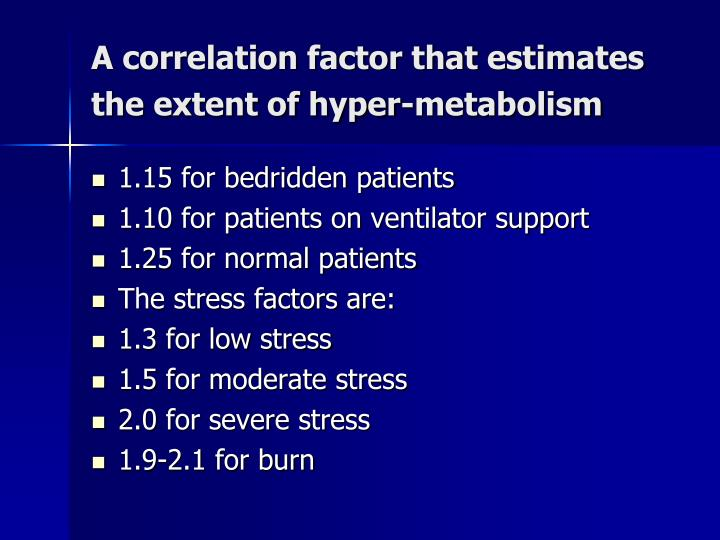 A correlation factor that estimates the extent of hyper-metabolism