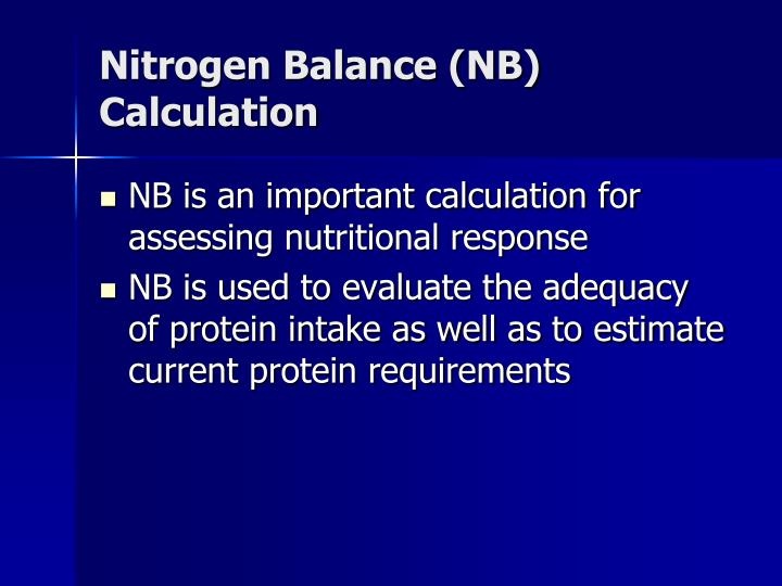 Nitrogen Balance (NB) Calculation
