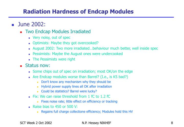 Radiation Hardness of Endcap Modules