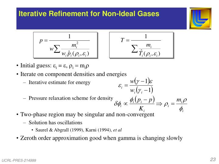 Iterative Refinement for Non-Ideal Gases