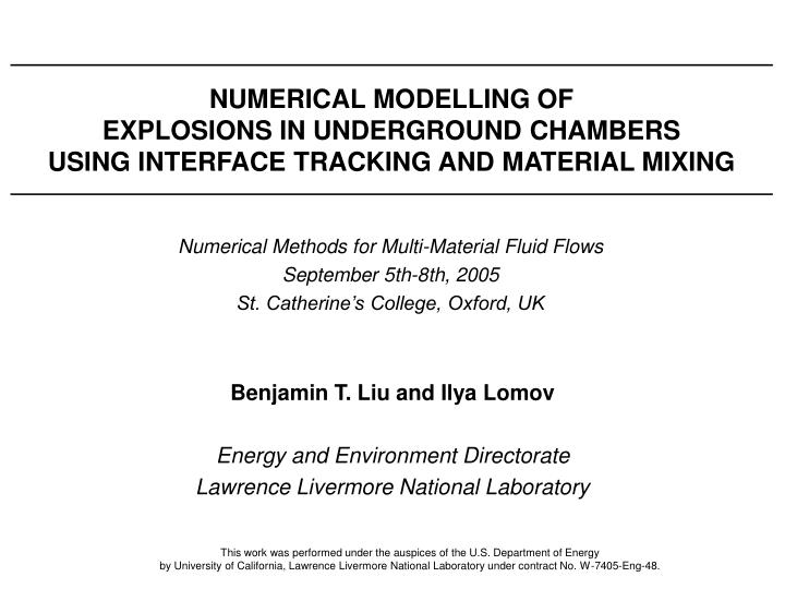 NUMERICAL MODELLING OF