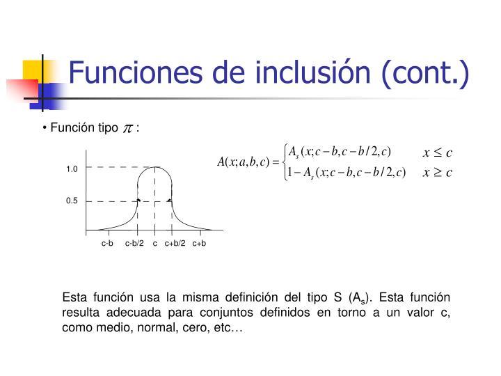 Funciones de inclusión (cont.)