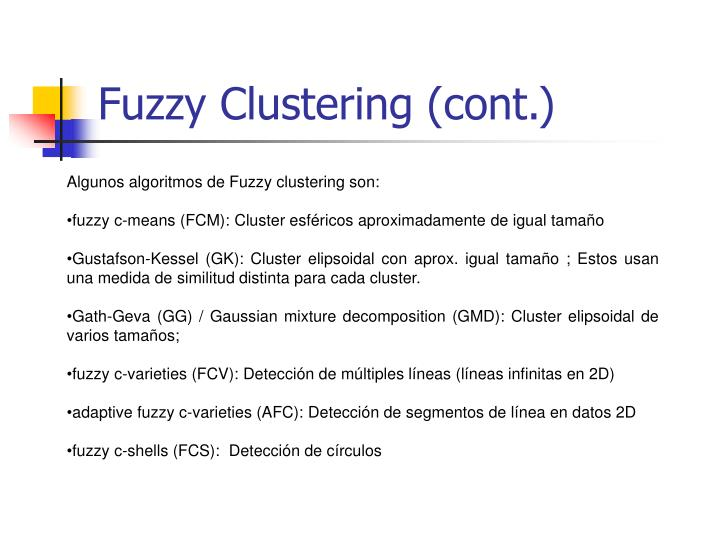 Fuzzy Clustering (cont.)