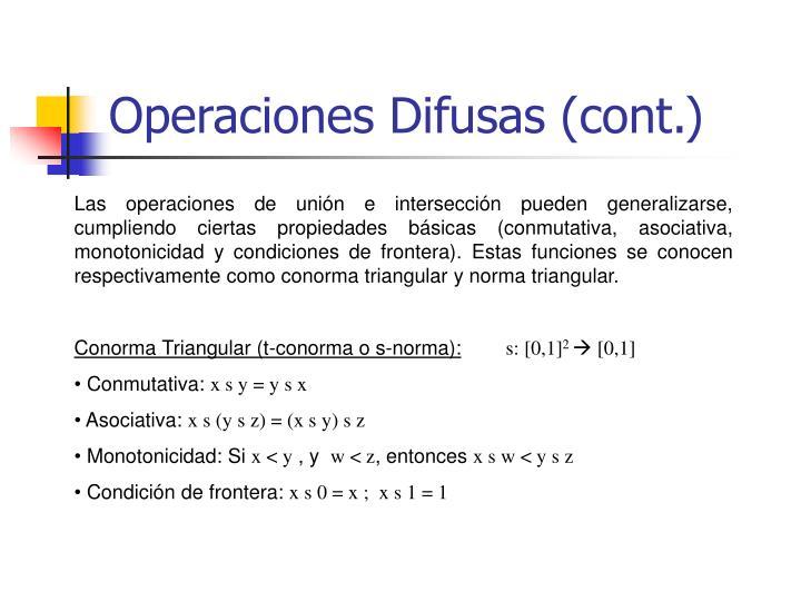 Operaciones Difusas (cont.)