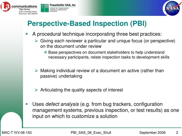 Perspective-Based Inspection (PBI)