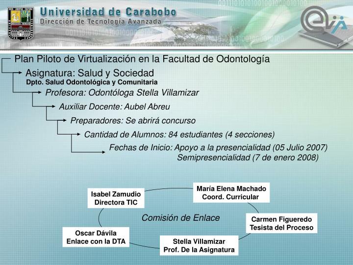 Plan Piloto de Virtualización en la Facultad de Odontología