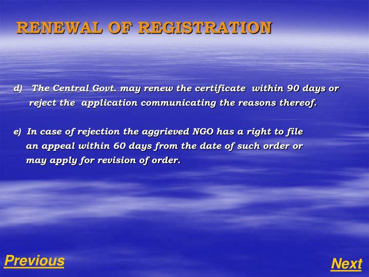 RENEWAL OF REGISTRATION