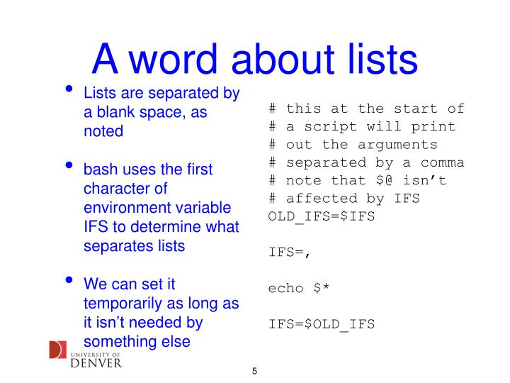 A word about lists