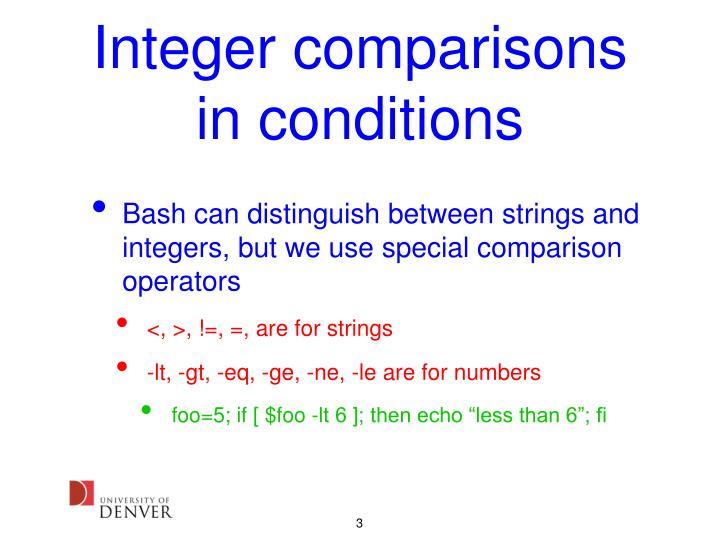 Integer comparisons in conditions