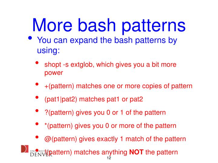 More bash patterns