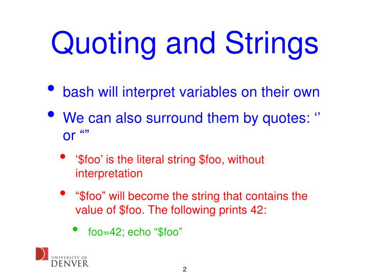 Quoting and strings
