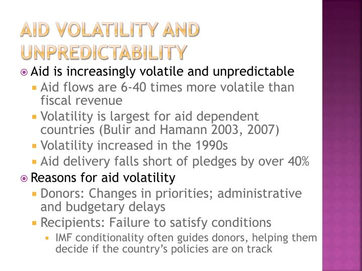 Aid Volatility and Unpredictability