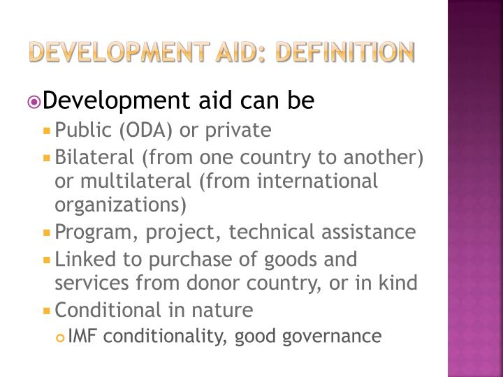 development aid: definition