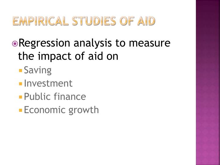 Empirical Studies of Aid