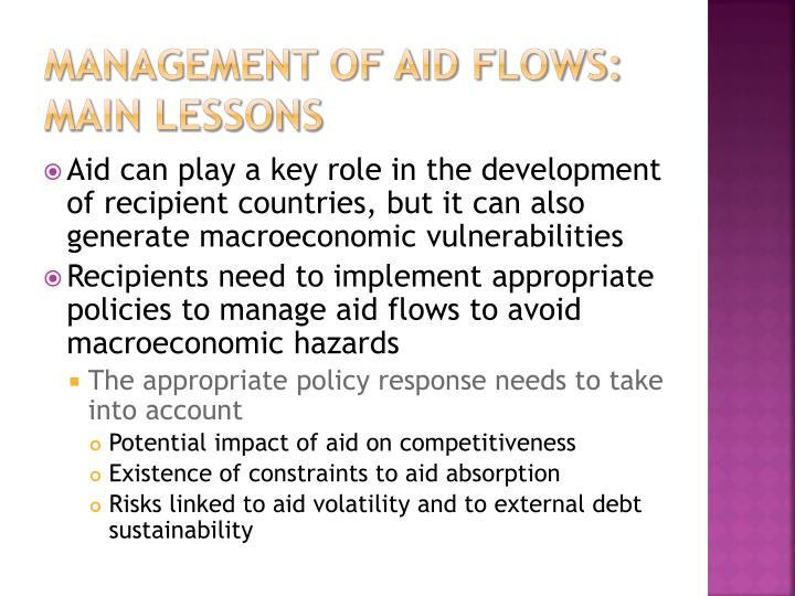 Management of aid flows: Main lessons