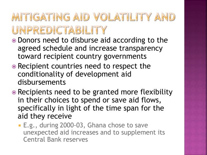 mitigating Aid volatility and unpredictability