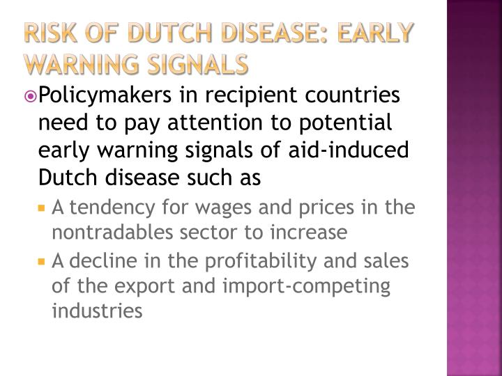 risk of Dutch Disease: early warning signals