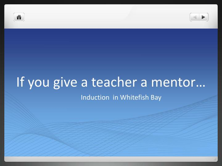 If you give a teacher a mentor