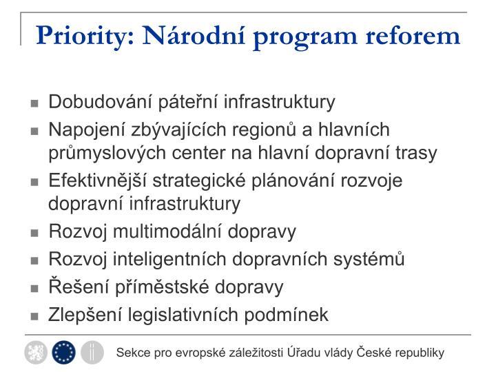 Priority: Národní program reforem