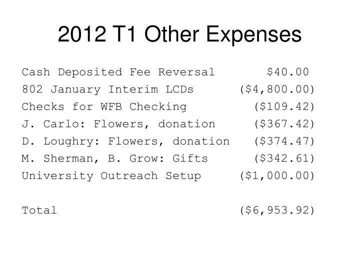2012 T1 Other Expenses