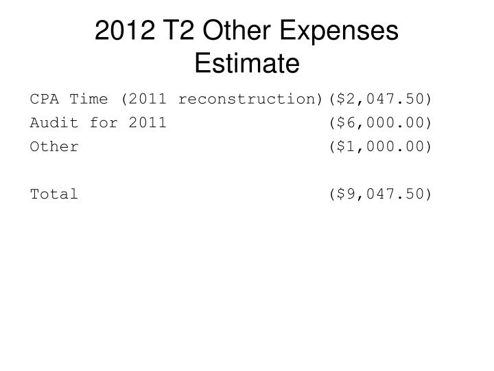 2012 T2 Other Expenses