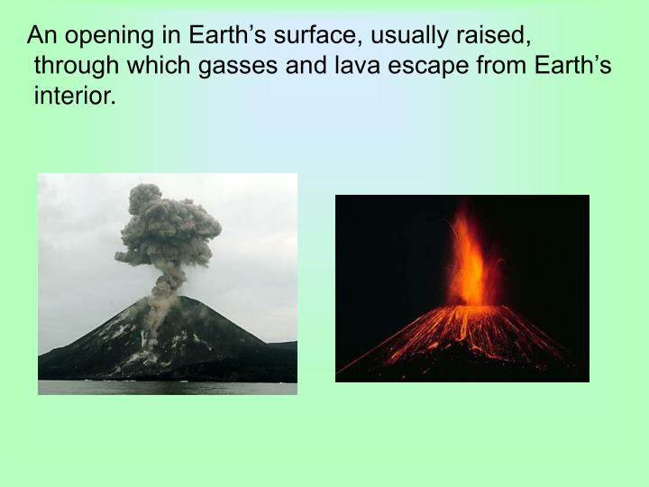 An opening in Earth's surface, usually raised,